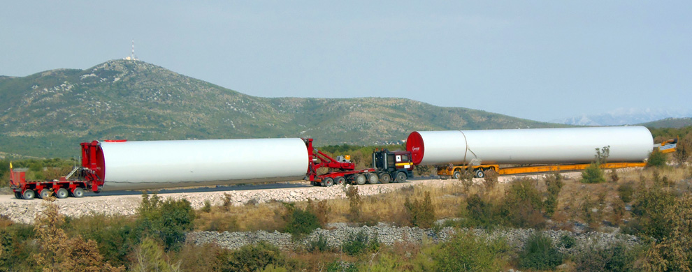 <h1>TRANSPORTATION AND INSTA- LLATION OF THE WIND FARM</h1> <p>Transportation and installation of the wind farm Jelinak, which consists of 20 wind turbines made by the manufacturer Acciona Windpower (AW-82/1500 II a), each of nominal power of 1.500 kW (total installed capacity of 30 MW). The installation is performed by the cranes LIEBHERR LTM 1500 8.1, LIBHERR LTM 1300, LIEBHERR LTM 1120...</p> <a href='transport-i-montaza-vjetroelektrane/' class='detaljnije'>More</a>